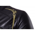 Men Casual Leather Clothes New Sale Men's Stand Collar Embroidery Fashion Men Leather Jacket Embroidery Leather Jackets