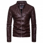 PU Leather Jacket Men Autumn Stand Collar Zipper Fashion Men Coat Casual Dress Leather Jacket