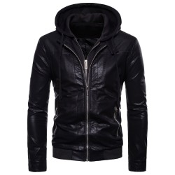Brand Leather Bomber Jacket Men Classic Style Motorcycling PU Leather Jackets Long Sleeve Zipper Hooded Jacket Casaco Masculino