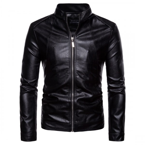 Autumn Casual Solid Zipper Motorcycle Jackets Stand Collar Black Faux Leather Coat Men Jaket 5XL
