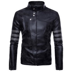 Leather Jacket Men New Winter Fashion High Quality PU Leather Casual Biker Jacket Pilot Leather Jacke Male Coats