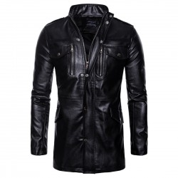 Leather Jacket Men Polar Fleece Detachable PU Faux Leather Jacket Men Biker Jacket Motorcycle Jacket