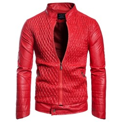 Autumn Fashion Motorcycle Jacket Men Red Designer Leather Coat Plus Size European Style
