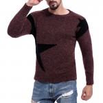New Autumn Winter Fashion Brand Clothing Men's Sweaters Breathable Slim Fit Men Pullover Contrast Color Knitted Sweater Men
