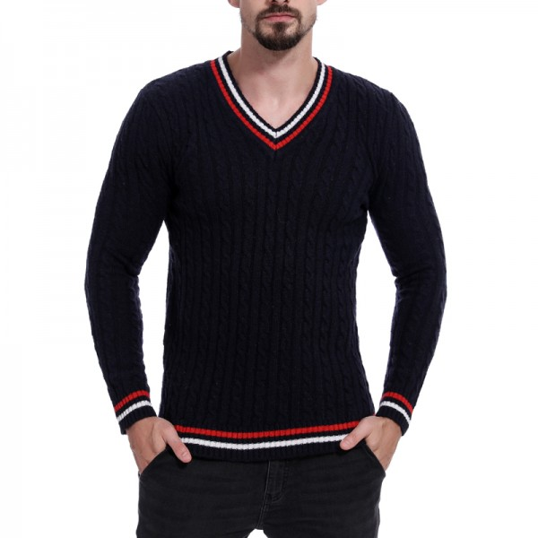 Brand Spring Autumn Style Men Knitted Thin Sweaters V-Neck Patchwork Striped Wool Pullovers Male Casual Jumpers Outwear