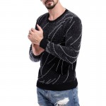 Men's Sweater Knitting Slim Fit Men Pullover Rhombus Striped Patchwork O-Neck Sweaters Men Pullovers