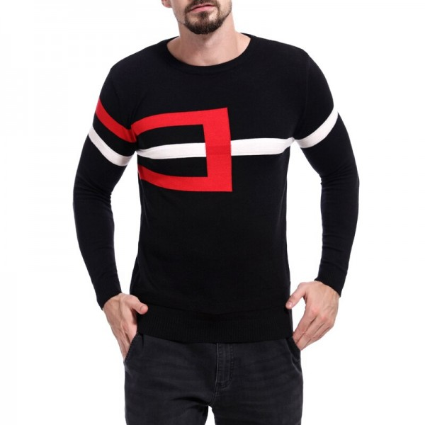 New Year Festive Red Autumn Winter Wool Sweater Men Fashion Youth O-Neck Full Pullovers Men Tops Knitting Clothes Men Sweater