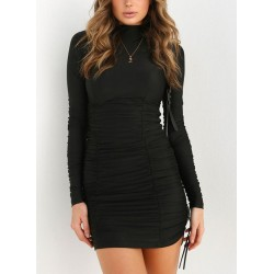 Black Sexy High Neck Long Sleeve Wrinkled Bodycon Dress