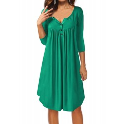 Casual 3/4 Sleeve V Neck Solid Color Loose Dress
