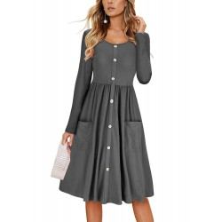 Casual Round Neck Long Sleeve High Waist Button Down Dress With Pockets