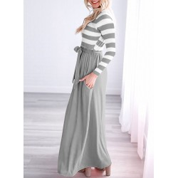 Casual Striped Round Neck Long Sleeve Bow Tie Pockets Maxi Dress
