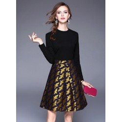 Fashion Long Sleeve Patchwork A-line Party Dress