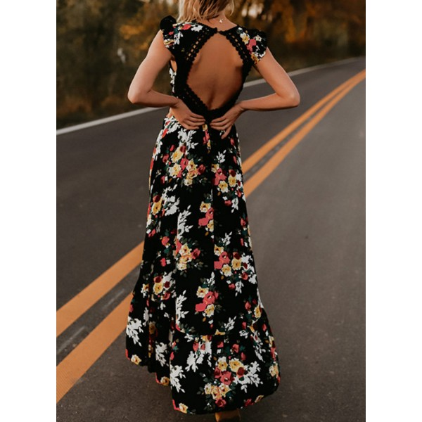 Floral Print V Neck Backless Hollow Out High Low Maxi Dress