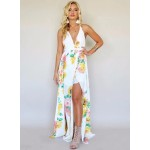 Halter Neck Sleeveless Backless Floral Printed Maxi Dress