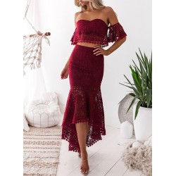 Lace Crop Top 2 Piece Mermaid Skirt Set