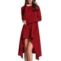 Long Sleeve Hooded High Low Dress
