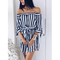 Navy Sexy Striped Off Shoulder Half Sleeve Mini Dress