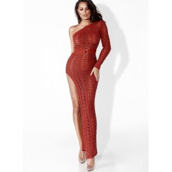 Off-the-shoulder Openwork High Slit Long Beach Dress