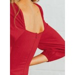Red Casual Square Neck 3/4 Sleeve Button Down Slim Mini Dress
