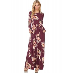 Round Neck Long Sleeve Floral Printed Maxi Dress