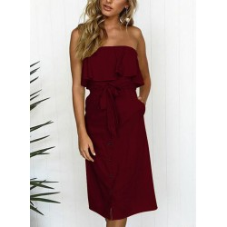 Sexy Chest Wrapped High Waist Ruffle Button Down Dress With Pockets