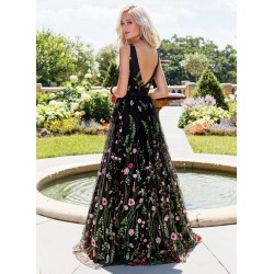 Sexy Deep V-neck Sleeveless Embroidered Long Prom Dress