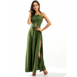 Sexy Open Back Mesh Stitching High Slit Nightclub Maxi Dress