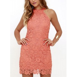 Sexy halter Sleeveless Slim Pencil Lace Dress With Zip