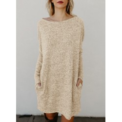 Solid Color Casual Knit Long Sleeve Bottom Day Dress