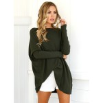Solid Loose Fit Batwing Sleeve T-Shirt Tunic Dress