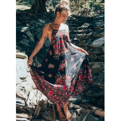 Spaghetti Strap Sleeveless Backless Floral Print Maxi Dress