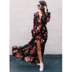 Spring Sexy Slit Floral printing Long Sleeve V Neck Maxi Dress