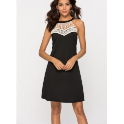 Stitching Lace Sleeveless Short dress
