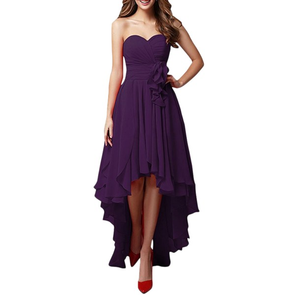 Strapless High Low Party Chiffon Dress