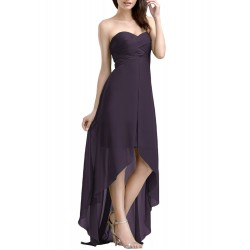 Strapless High Low Solid Chiffon Evening Dress