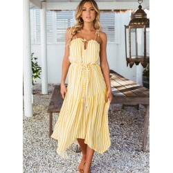 Striped Print Bohemian Halter Beach Chiffon Dress