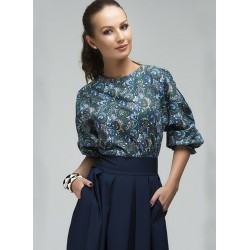 Two-piece Set Pleated Printed Long Sleeve A-line Dress