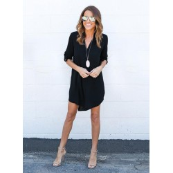 V Neck Long Sleeve High Low Solid Dress