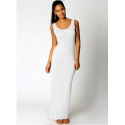 Women's Sleeveless Solid Slim Maxi Tank Dress