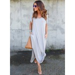 Women's Solid V Neck Short Sleeve Maxi Dress with Pocket