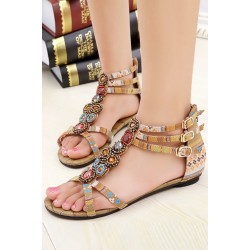 Fashion Ankle Straps Buckled Summer Flat Sandals