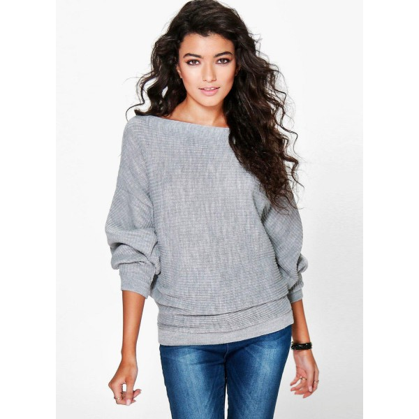 Casual Batwing Sleeve Solid Loose Pullover Sweater