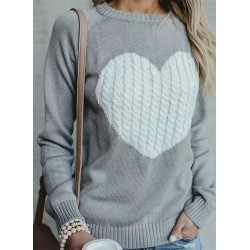 Casual Crew Neck Long Sleeve Front Heart Pullover Sweater