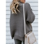 Casual High Neck Long Sleeve Loose Pullover Sweater
