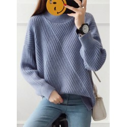 Casual Loose Fit High Neck Long Sleeve Pullover Sweater