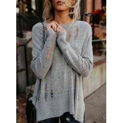 Casual Ripped Loose Fit Knit Sweater