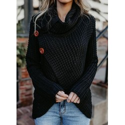 Casual Turtleneck Long Sleeve Chunky Wrap Sweater With Button