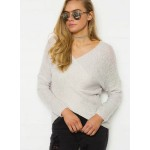 Cross V Neck Long Sleeve Sweater