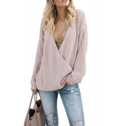 Deep V Neck Solid Office Lady Plain Sweater
