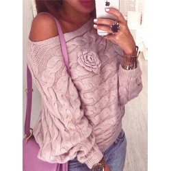 Fashion Batwing Sleeve Floral Loose Fit Pullover Sweater